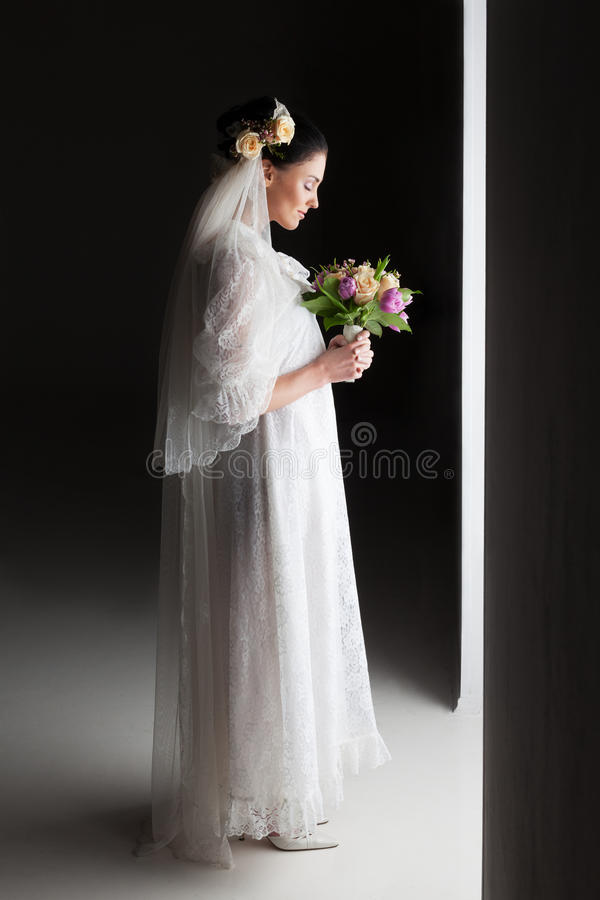 New step. Bride is about to make a step into new life royalty free stock images