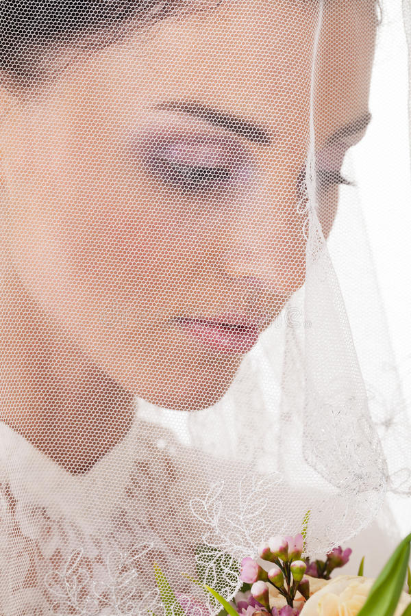 New step. Bride is about to make a step into new life, focus on veil stock images