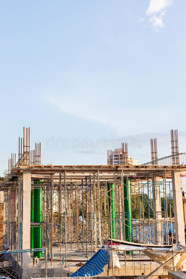 A new stick built home under construction. construction residential new house in progress at building site. The building structure are made from prefabrication royalty free stock photos