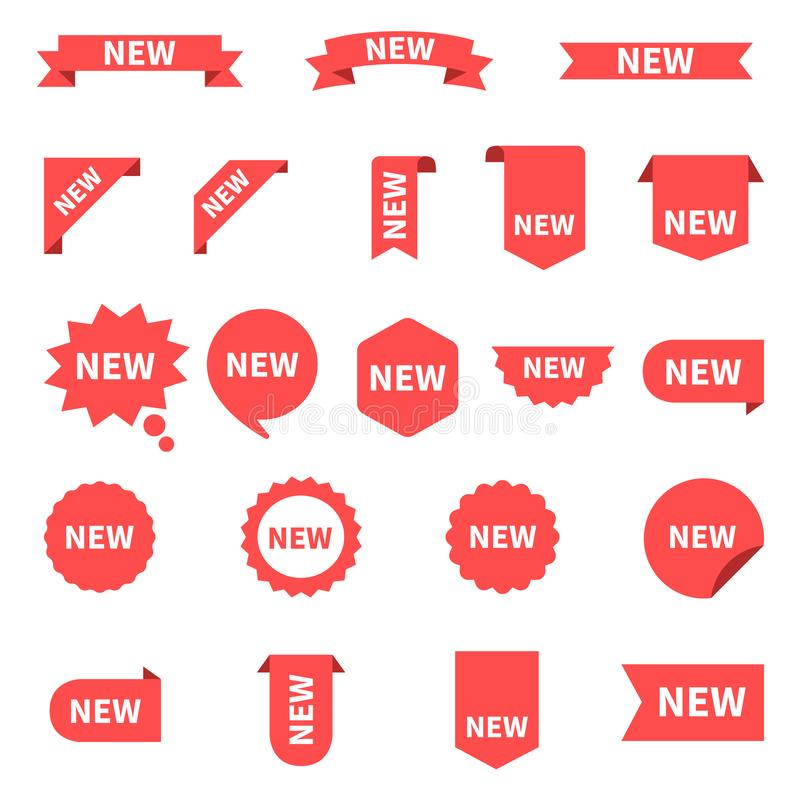 New sticker set labels. Product stickers with offer. New labels or sale posters and banners. Sticker icon with text. Red vector illustration