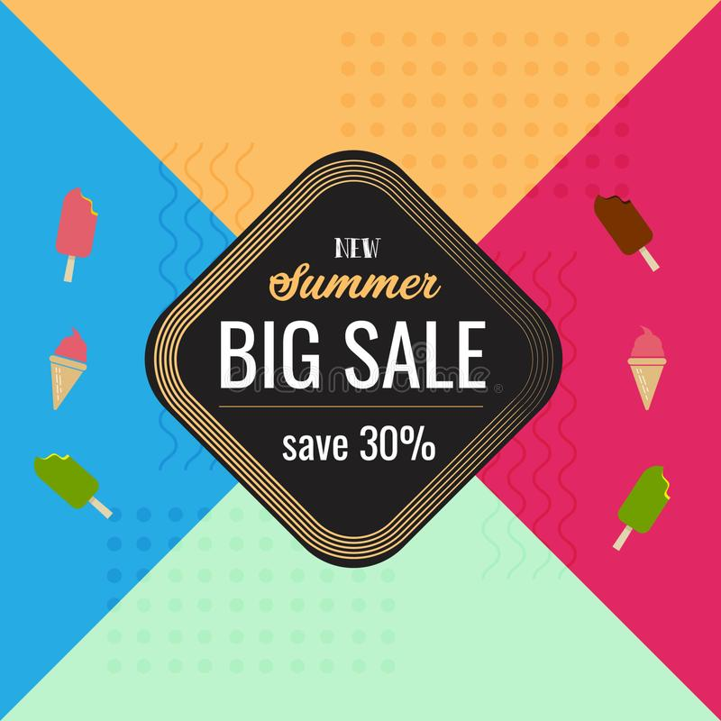 New summer big sale colorful background template vector illustration