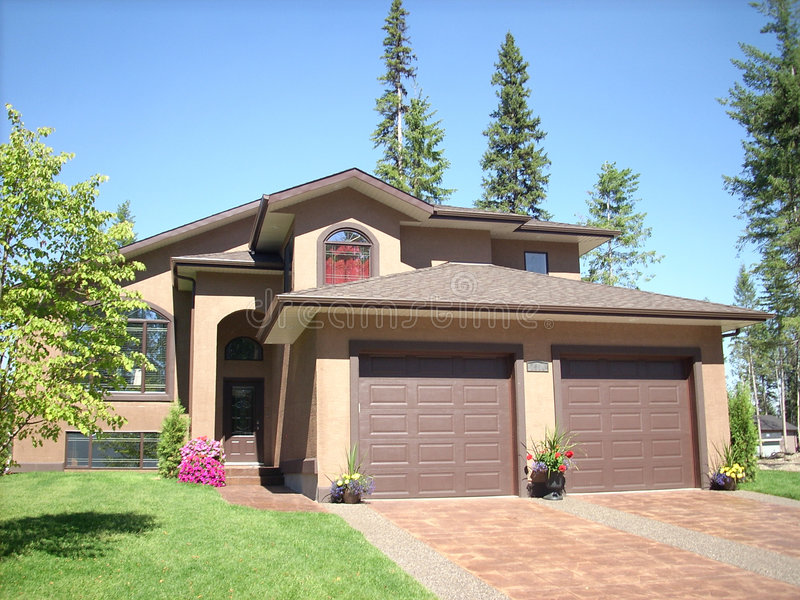 Download New tan house stock photo. Image of summer, garage, family - 6150466