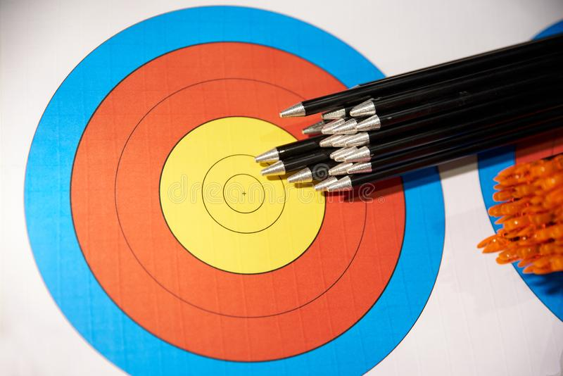 NEW TARGET AND MANY ARROWS. FOR BOOMING stock images