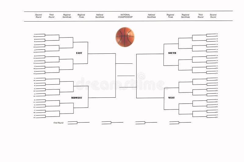 Tournament of 68 Playoff Bracket on White. New 68 team ncaa tournament format bracket on white with basketball stock photos