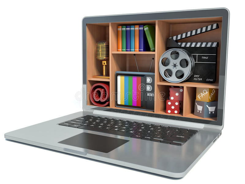 New technologies. Laptop. Multimedia concept.  vector illustration