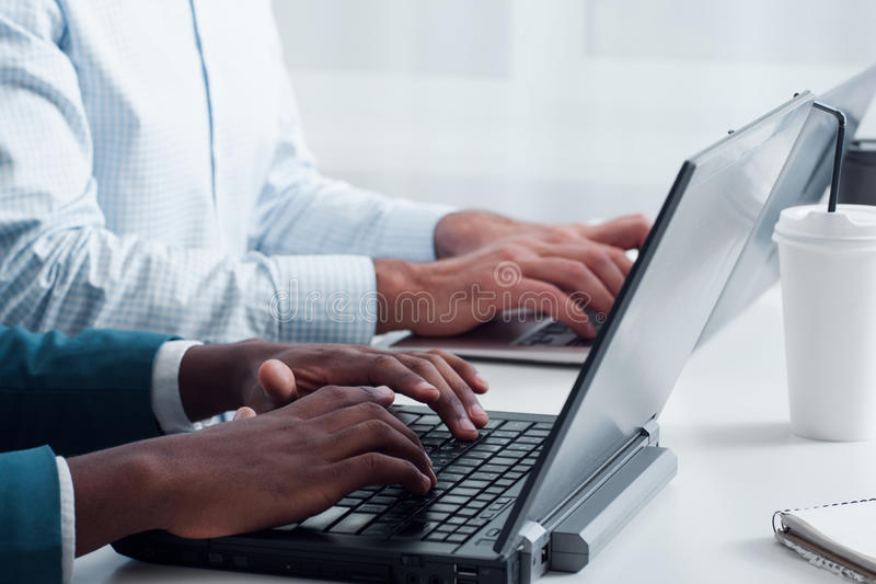 New technologies. Learning programming online. stock photos