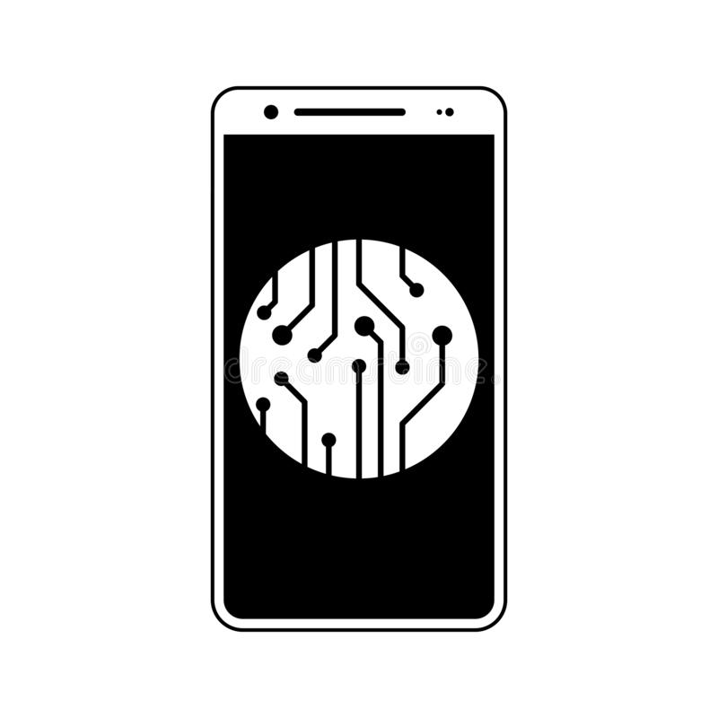 New technology, circuit, smartphone, chip icon. Element of fingerprint for mobile concept and web apps icon. Glyph, flat icon for. Website design and stock illustration