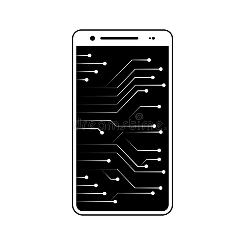 New technology, circuit, smartphone, chip icon. Element of fingerprint for mobile concept and web apps icon. Glyph, flat icon for. Website design and royalty free illustration