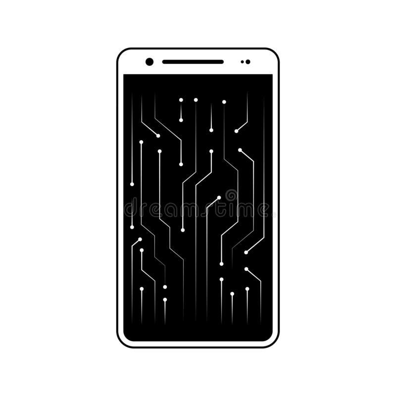 New technology, circuit, smartphone icon. Element of fingerprint for mobile concept and web apps icon. Glyph, flat icon for. Website design and development, app vector illustration