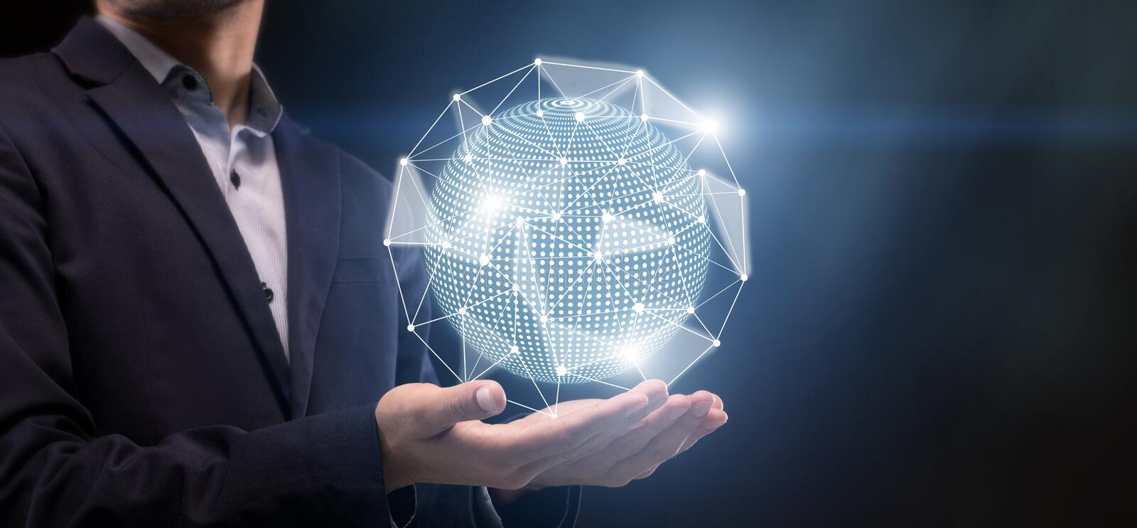 3D World with dots connections on man palm for searching. New technology concept. 3D globe with dots connections on man palm for searching, panorama stock image