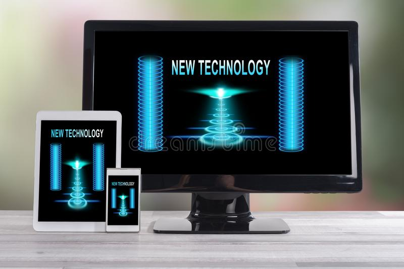 New technology concept on different devices. New technology concept shown on different information technology devices stock images