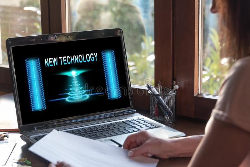 New technology concept on a laptop screen. Laptop screen displaying a new technology concept stock photo