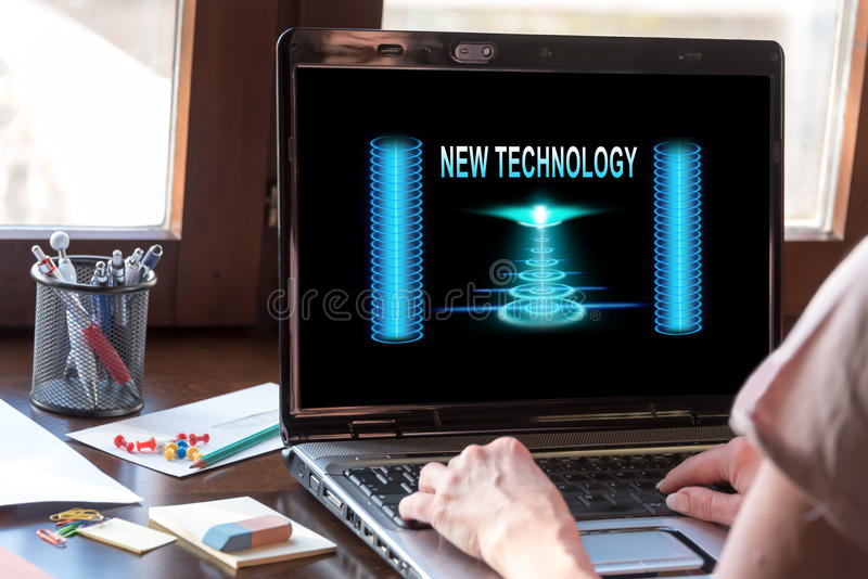 New technology concept on a laptop screen. Laptop screen displaying a new technology concept stock images