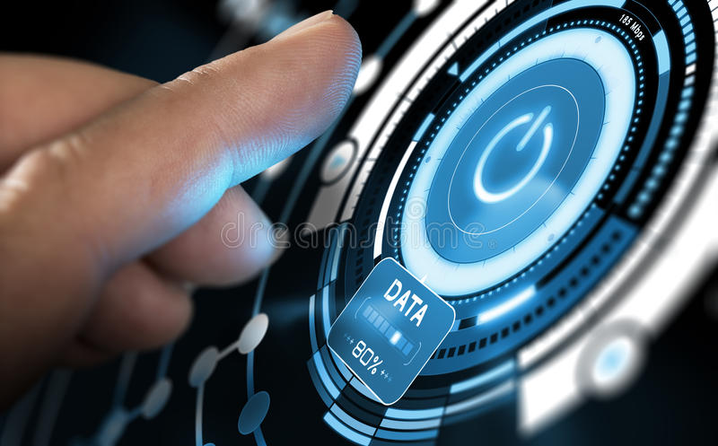 New Technology, Futuristic User Interface. Finger press a futuristic GUI on a computer dashboard. Modern interface design with blue tones. Composite image stock illustration