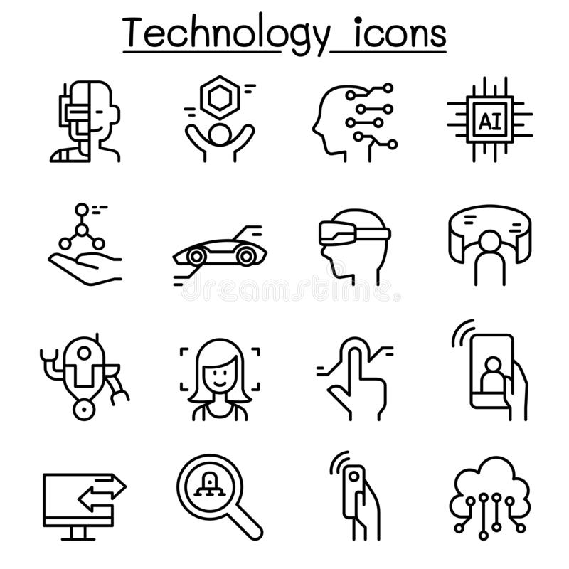 New Technology icon set in thin line style stock illustration
