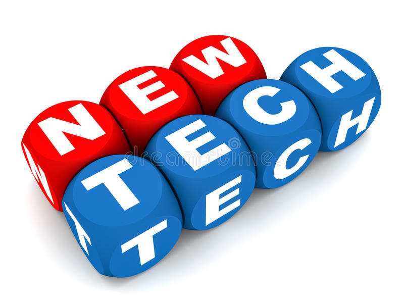 New technology. New tech or technology concept, words new tech in red and blue blocks vector illustration
