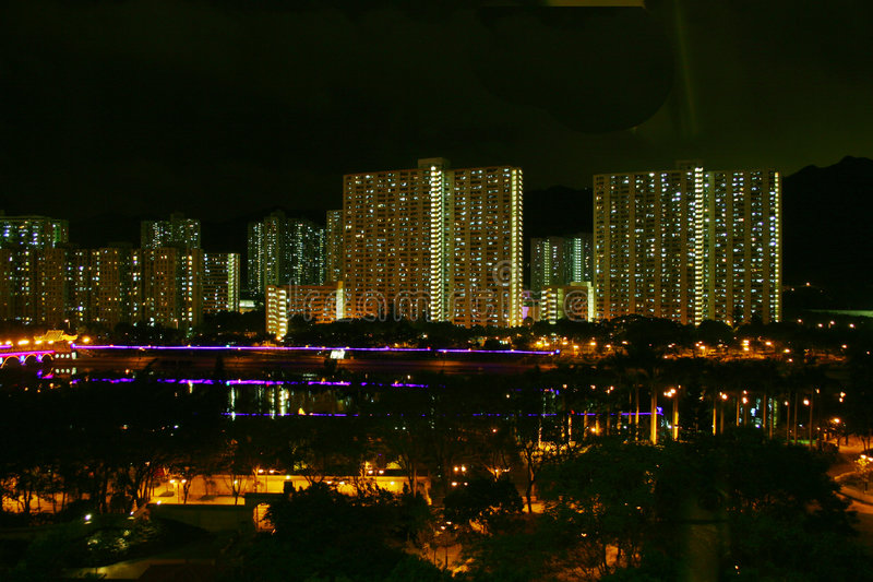 New territories. Night view of the buildings in new territories, Hong Kong royalty free stock photography
