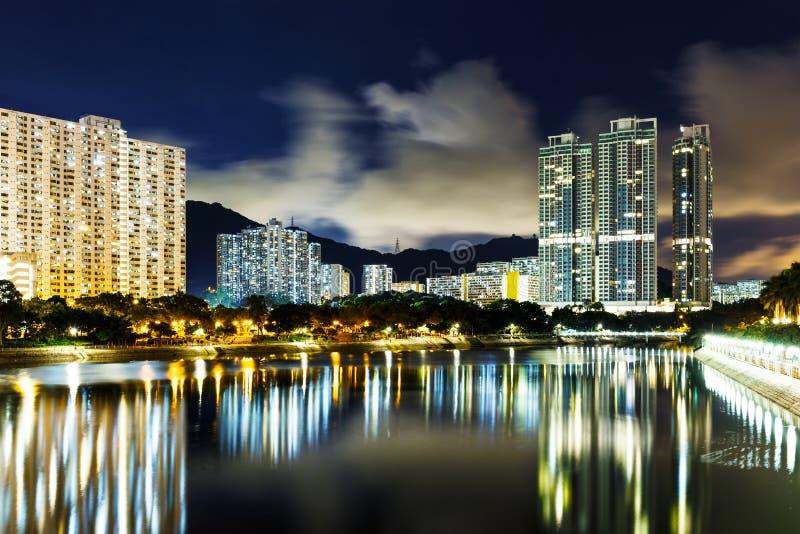 New territories in Hong Kong. At night stock image