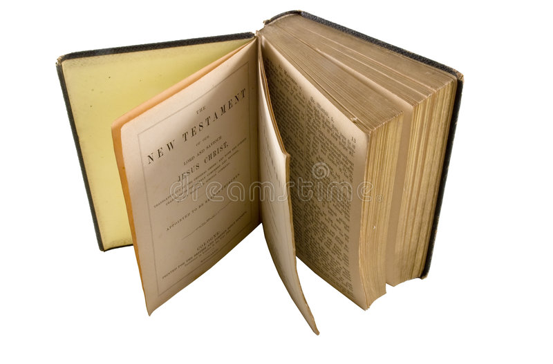 New Testament. Old edition of New Testament isolated against white background stock photography
