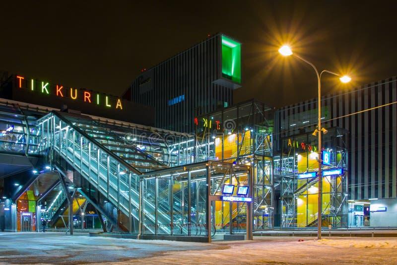 New Tikkurila railway station in Vantaa, Finland. VANTAA, FINLAND - FEBRUARY 14, 2015. New railway station in Tikkurila, Finland, opened in January 2015 royalty free stock photos