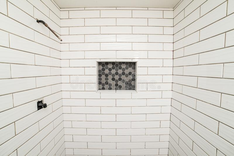 New tile for bathroom shower walls royalty free stock photos