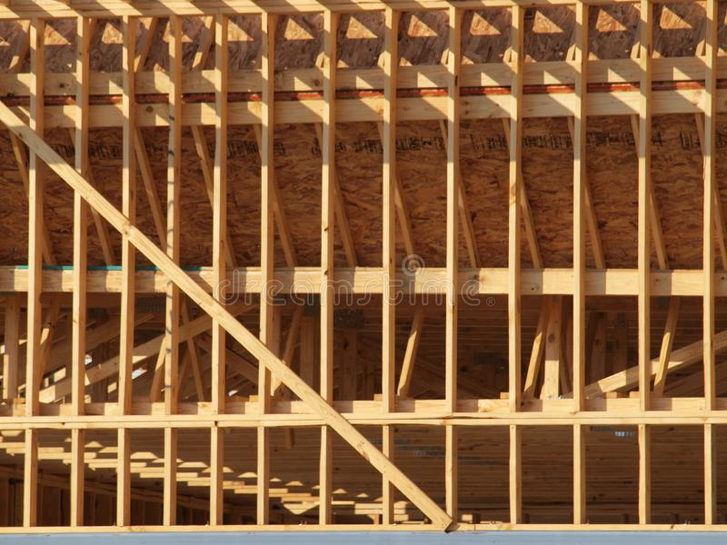 New Timber Wood Studding Being Framed stock photos