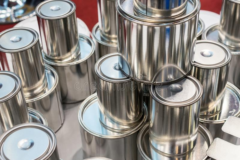 New tin cans for paint. royalty free stock photography