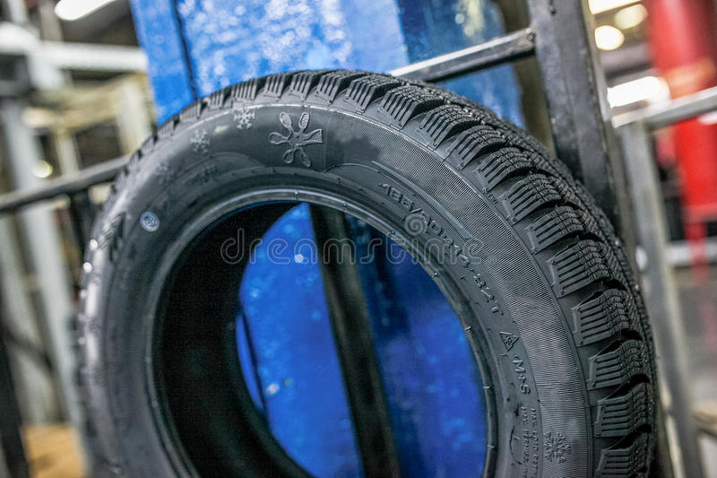 New tire ready for transporting at factory royalty free stock photography