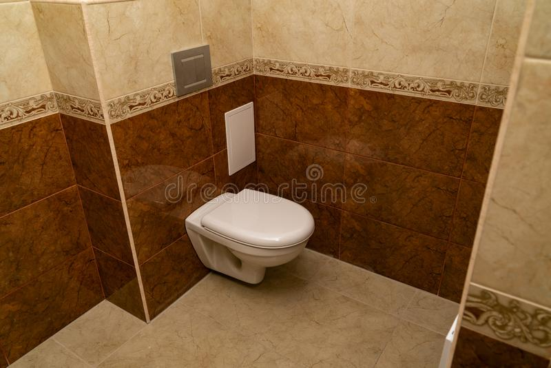 In the new toilet after repair put the toilet royalty free stock photography