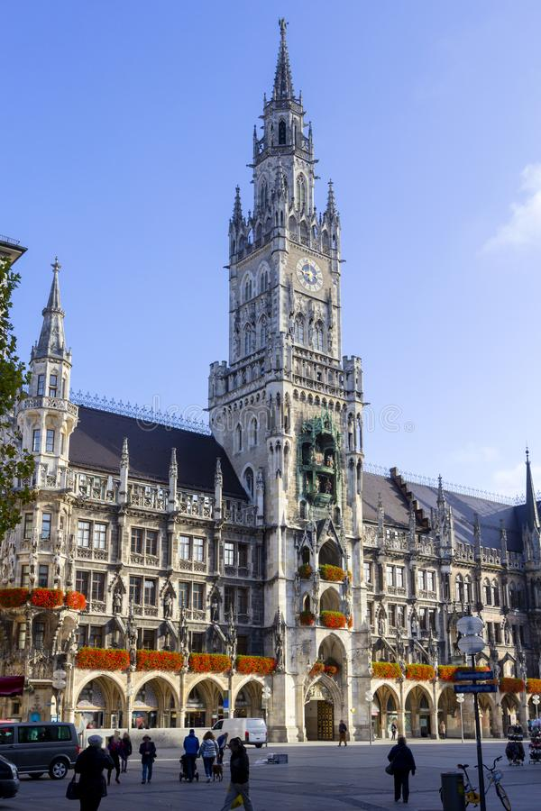 New Town Hall with clock tower on central Marienplatz square in Munich, Bavaria, Germany.  stock photography