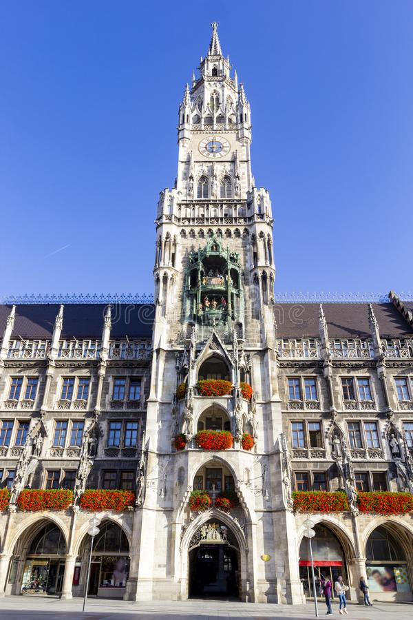 New Town Hall with clock tower on central Marienplatz square in Munich, Bavaria, Germany.  royalty free stock photos