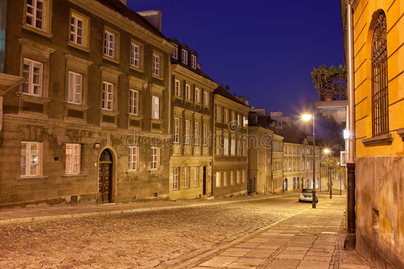 New Town Street and Houses at Night in Warsaw stock photos