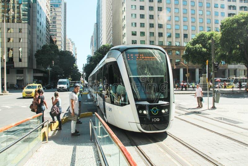 New Tram calls `VLT` in downtown of Rio de Janeiro. RIO DE JANEIRO, MAY 5, 2017: New Tram calls `VLT` in downtown of Rio de Janeiro stock photos
