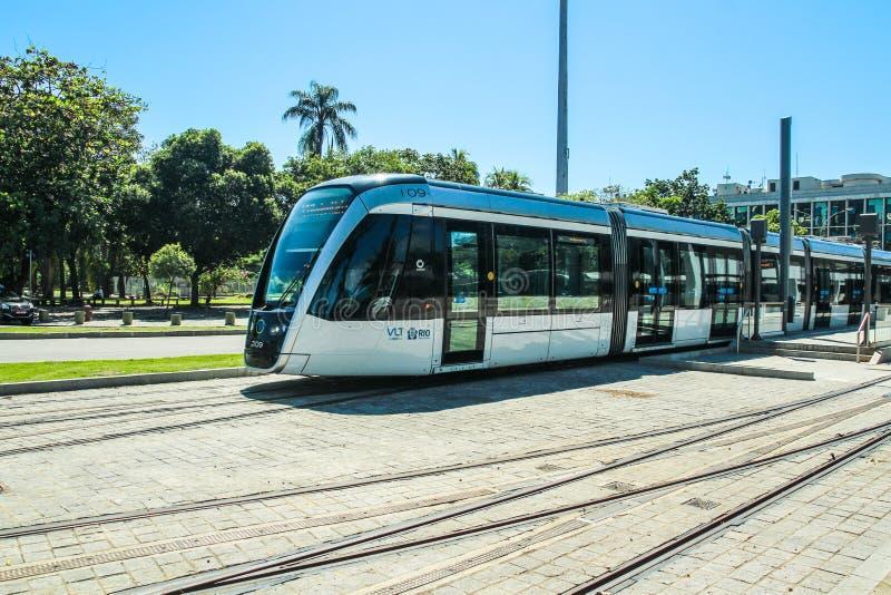 New Tram calls `VLT` in front of Santos Dumont airport, Rio de Janeiro. RIO DE JANEIRO, MAY 5, 2017: New Tram calls `VLT` in front of Santos Dumont airport stock photos
