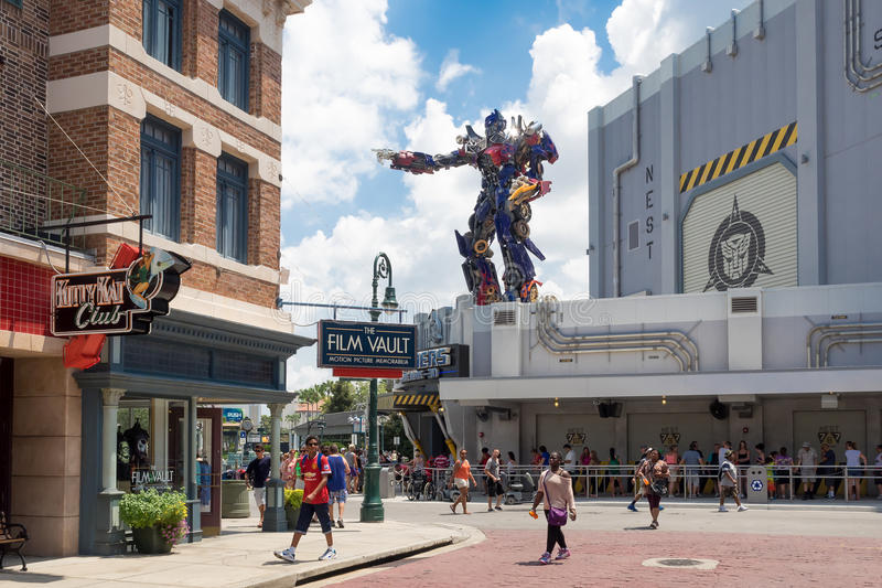 The new Transformers 3D ride at Universal Studios Florida. ORLANDO,USA - AUGUST 23, 2014 : The new Transformers 3D ride at Universal Studios Florida theme park stock image