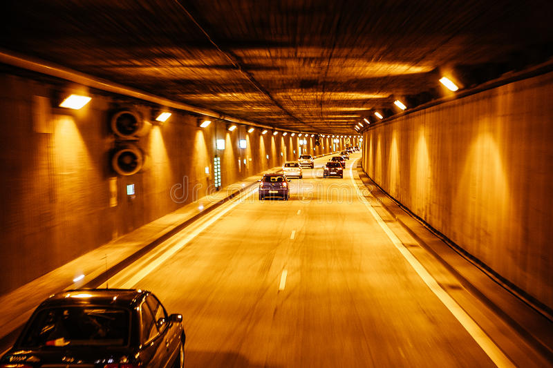 New Tunnel on the autobahn roads of Germany. BERLIN, GERMANY - MAY 18, 2015: New Tunnel on the autobahn roads of Germany on May 18, 2015 royalty free stock image