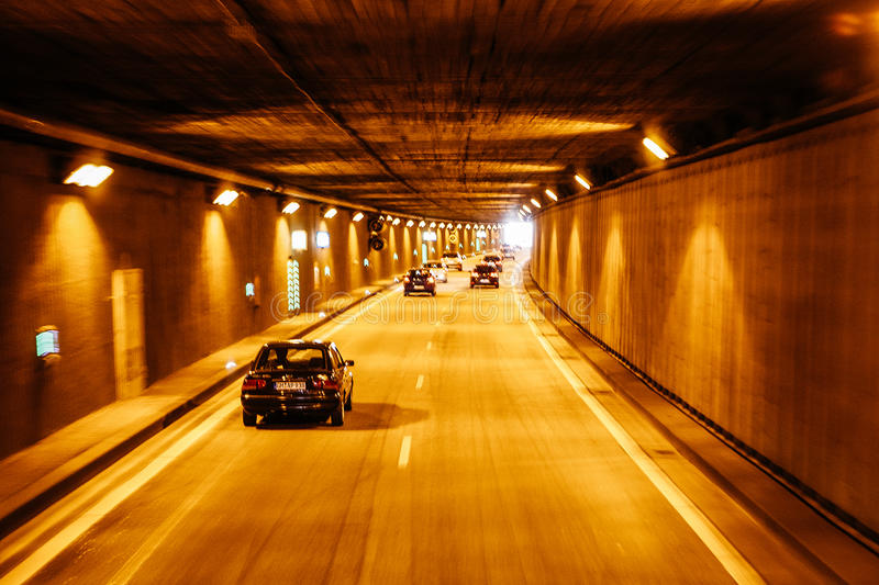 New Tunnel on the autobahn roads of Germany. BERLIN, GERMANY - MAY 18, 2015: New Tunnel on the autobahn roads of Germany on May 18, 2015 royalty free stock photo