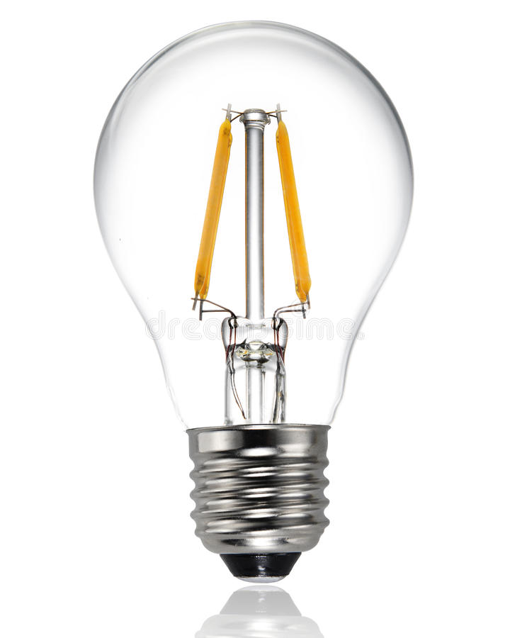 New type led light bulb. New type led lamp bulb on white background.three generations of light bulb such as regular incandescent lamp bulb, energy saving stock image