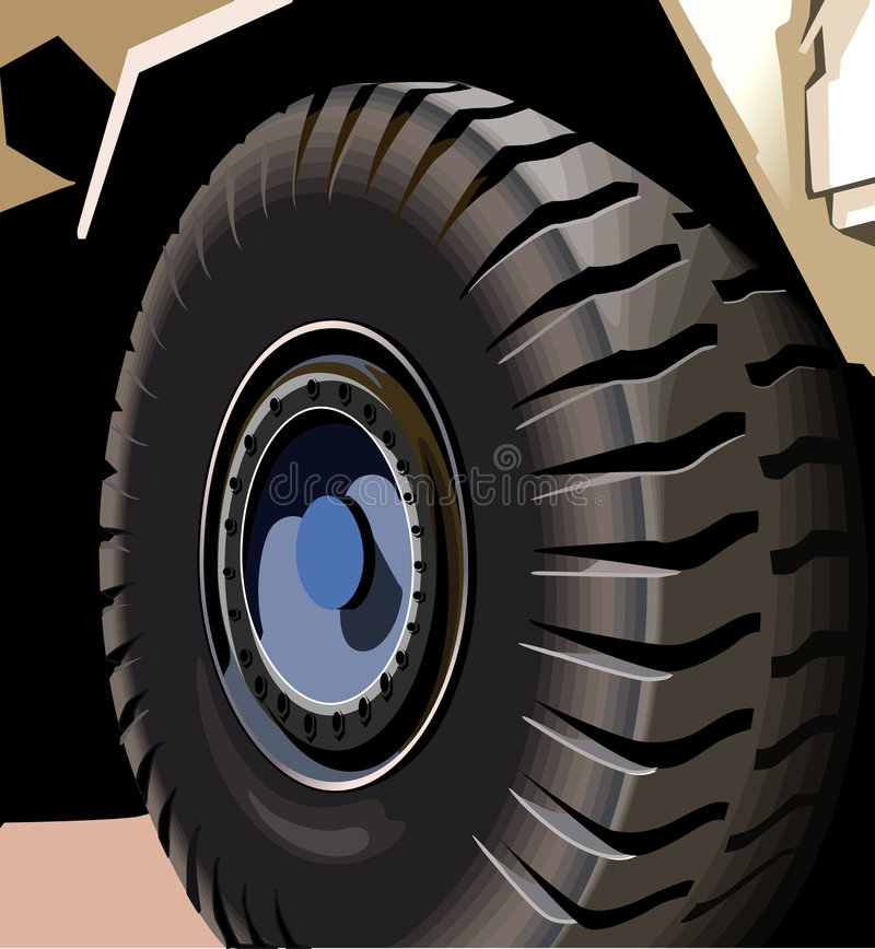 New Tyre. Fixed in heavy vehicle royalty free illustration