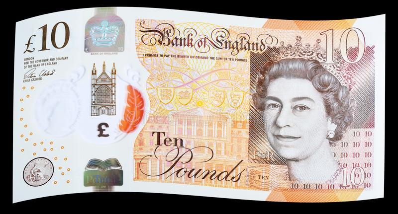 New UK Polymer Ten Pound Note. Latest edition of UK Polymer Ten Pound Note on black background stock photo