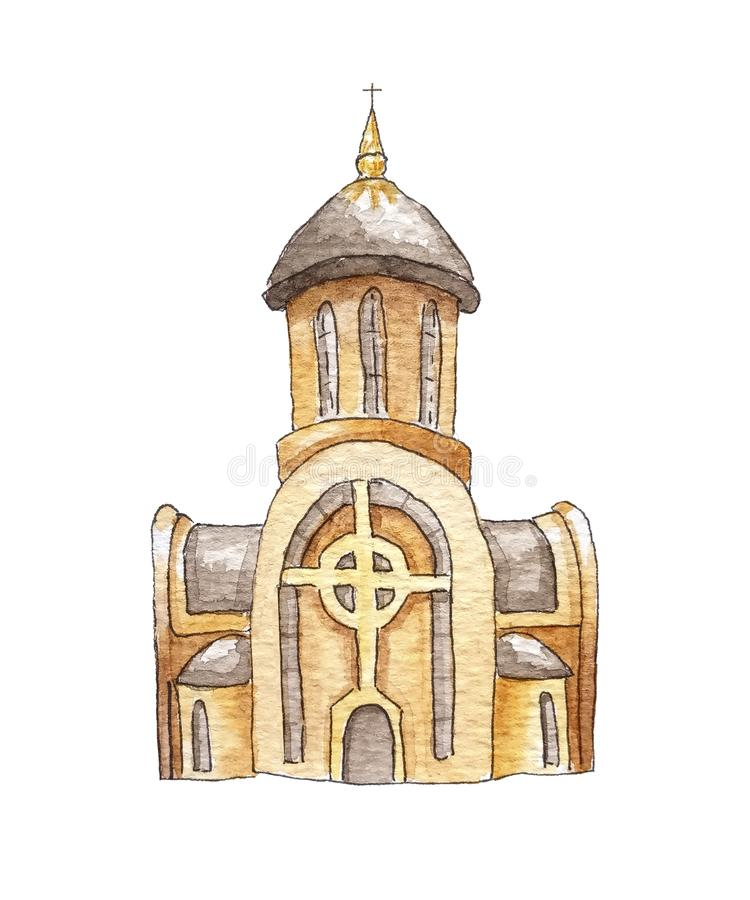 New Ukrainian greek catholic church isolated in white background. Stone royalty free illustration