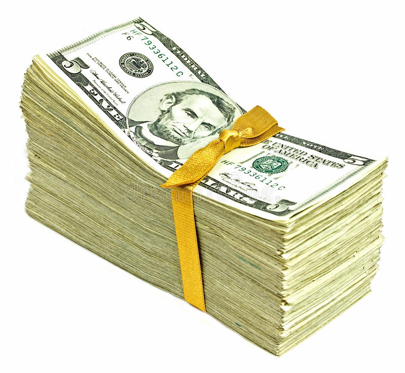 Download New United States Currency - Fives Stock Photo - Image: 26406456