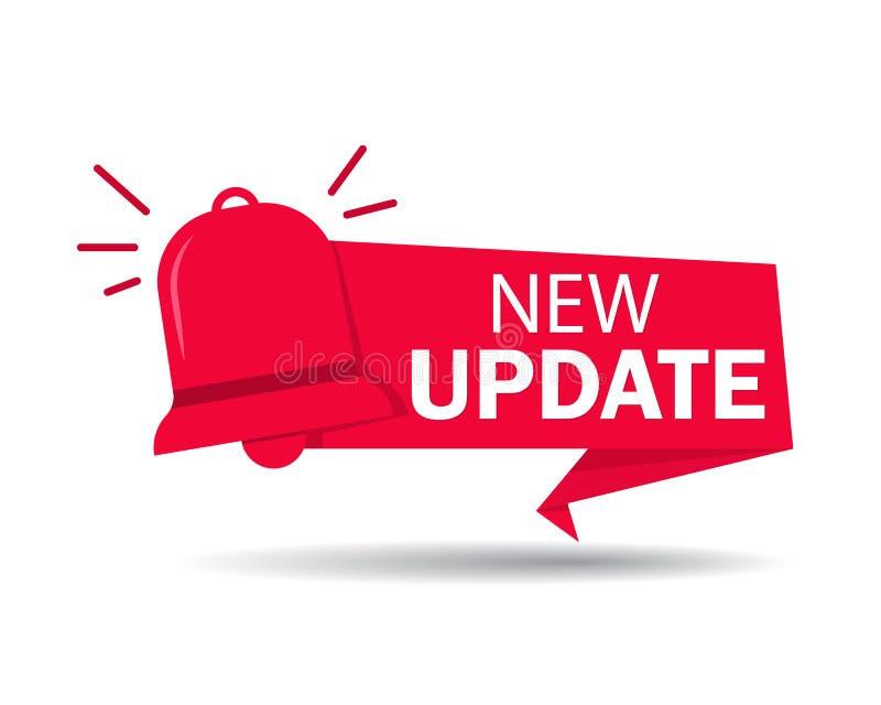 New update label. Red banner of update information for bussines, website, poster of social media. Ribbon improved software on vector illustration