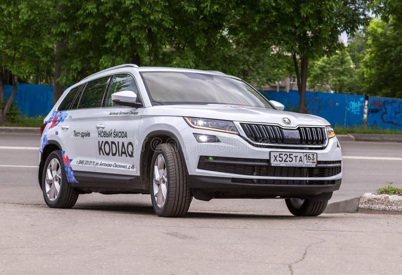 New vehicle Skoda Kodiaq at the city street royalty free stock photography