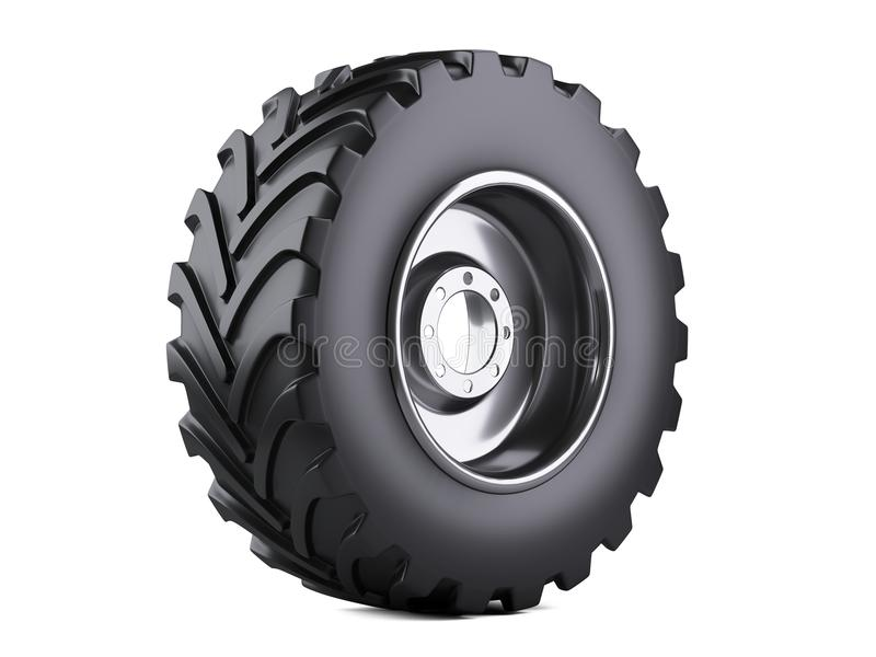 New vehicle truck tire. Big car wheel with metal disk for heavy. Trucks. 3d illustration over white background stock illustration