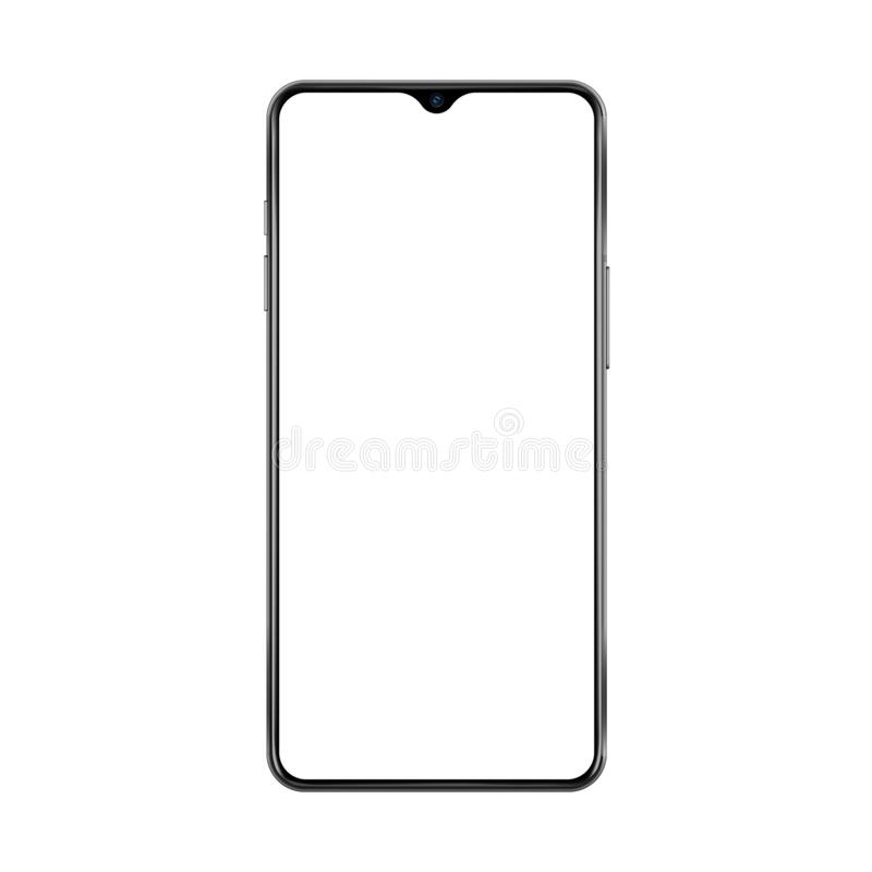 New version of black thin frame smartphone with small face camera and blank white screen. Realistic vector illustration. vector illustration