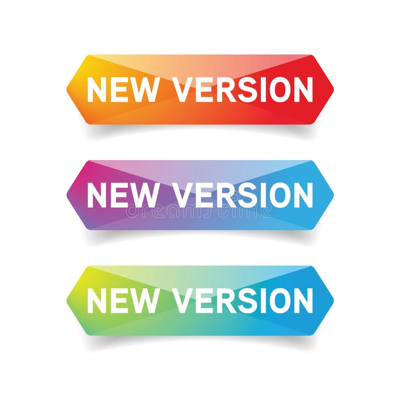 New Version button set. Vector vector illustration