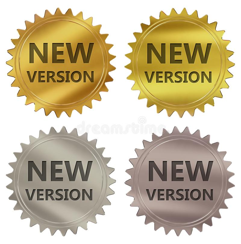 New version guarantee label. New version 3d rendered 4 color tag , golden guarantee label royalty free illustration