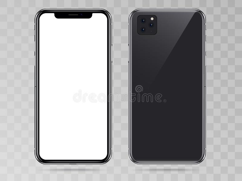 New Version of High Detailed Black Slim Realistic Smartphone isolated on Transparent Background. Front View Display. Device Mockup Separate Groups and Layers vector illustration