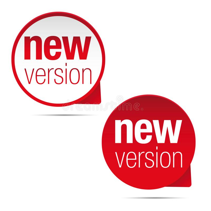 New version label tag red. Vector royalty free illustration
